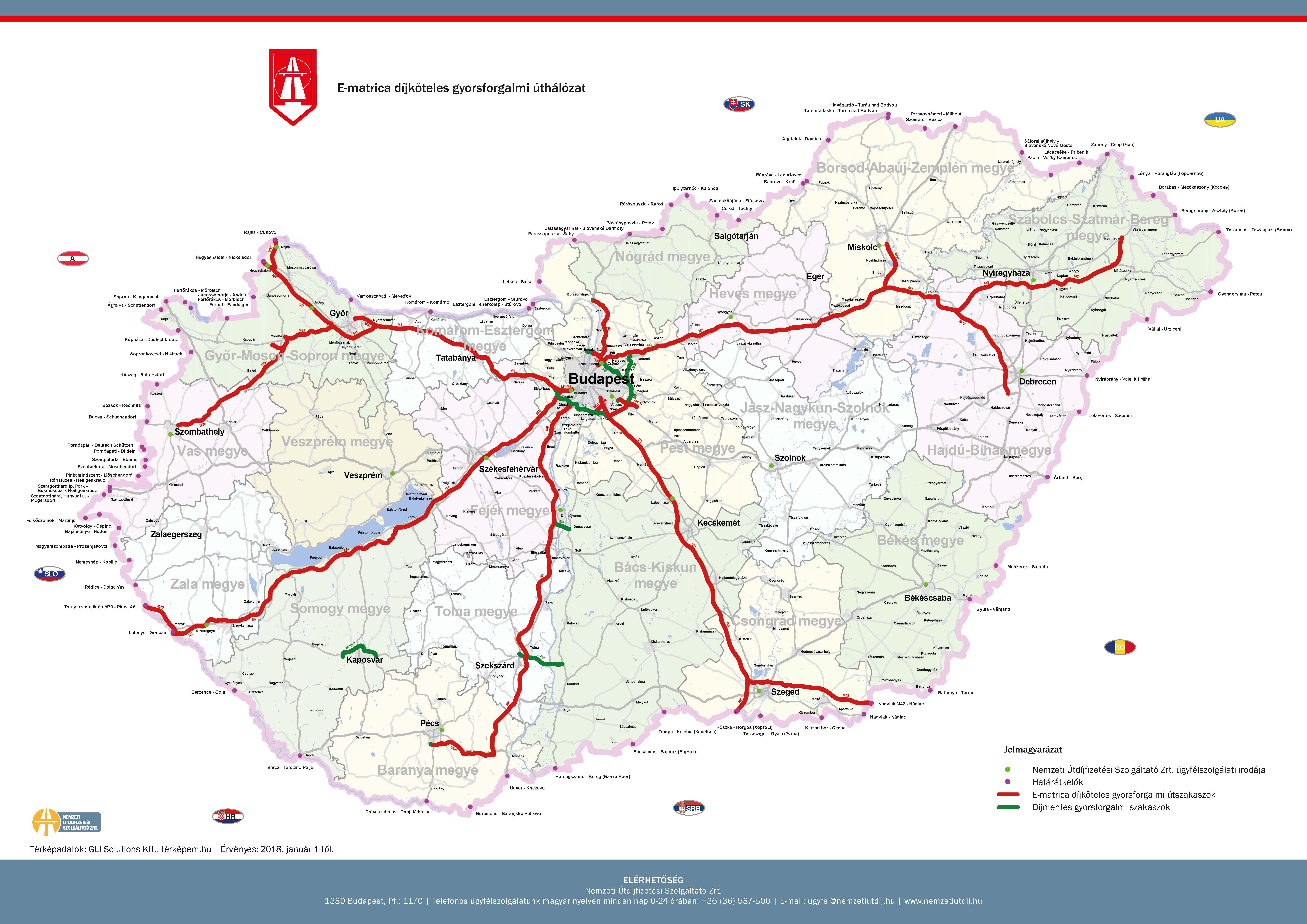 megyei matrica térkép Megyei matrica részletes térkép   fizetős útszakaszok